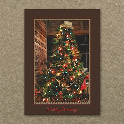 Cowboy Christmas Tree - Holiday Card
