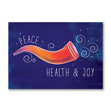 Colorful Shofar Holiday Card