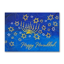 Menorah and Stars Holiday Card