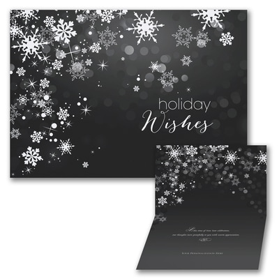 Sparkle Snowflakes - Holiday Card - Black