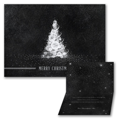 Sparkling Tree - Holiday Card - Black