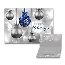 Hanging Ornaments - Holiday Card - Blue