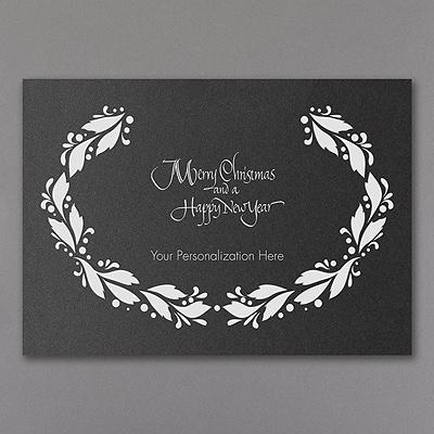 Wreath - Christmas Card - Black Shimmer