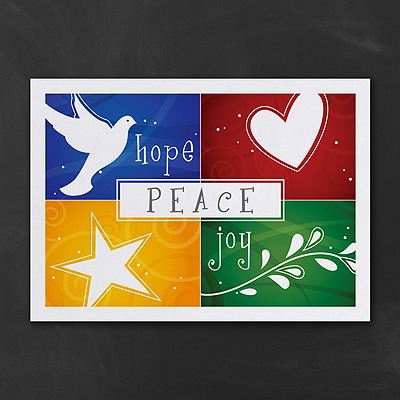 Colorful Hope Peace Joy - Holiday Card