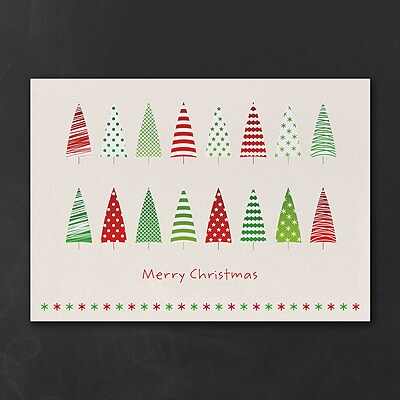 Colorful Treeline - Christmas Card
