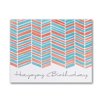 Watercolor Pattern - Birthday Card - Red