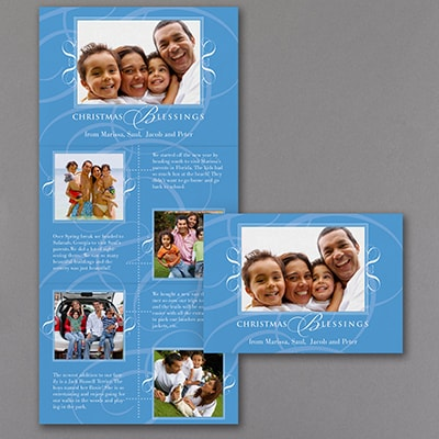 Framed in Flourishes - Storyline Photo Holiday Card - Blue