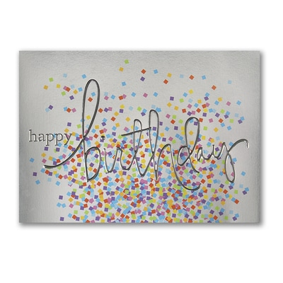 Confetti on Silver - Birthday Card