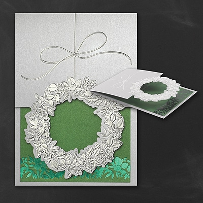 Silvery Wreath - Holiday Card