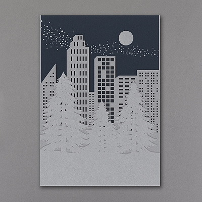 Silver Shimmer Treeline - Holiday Card