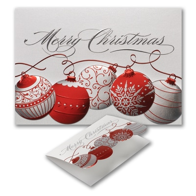Red and Silver Ornaments - Christmas Card