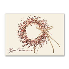 Tri-Color Wreath Thanksgiving Card