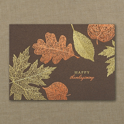 Copper Leaves Thanksgiving Card