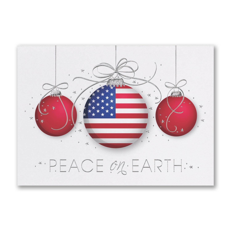 Patriotic Christmas Ornaments.Patriotic Ornaments Trio Holiday Card Carlson Craft
