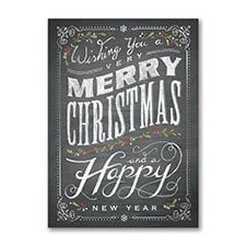 Chalkboard Merry Christmas - Holiday Card