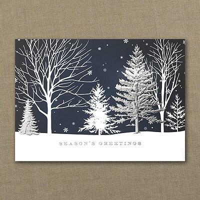 Winter Blue Treeline - Holiday Card