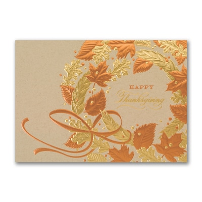 Decorated Wreath - Thanksgiving Card