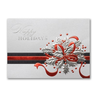 Shimmering Holly - Holiday Card