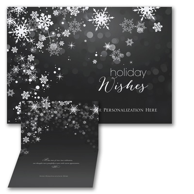 Sparkle Snowflakes - Holiday Card - Front Imprint - Black