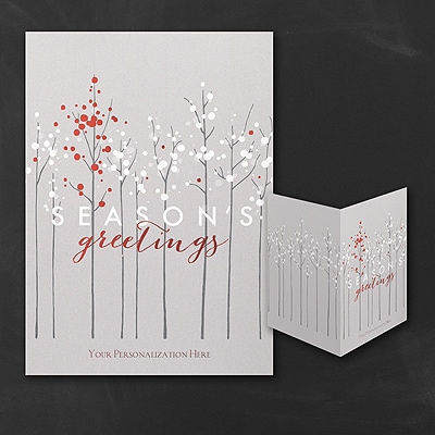 Contemporary Treeline - Holiday Card - Front Imprint