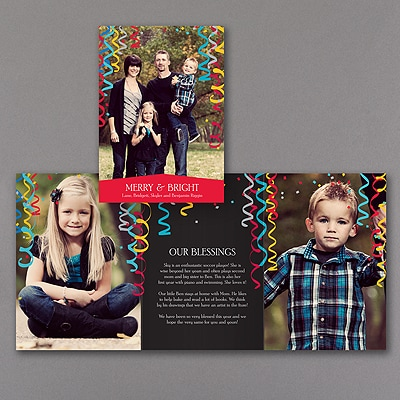 Celebration Streamers - Photo Holiday Card