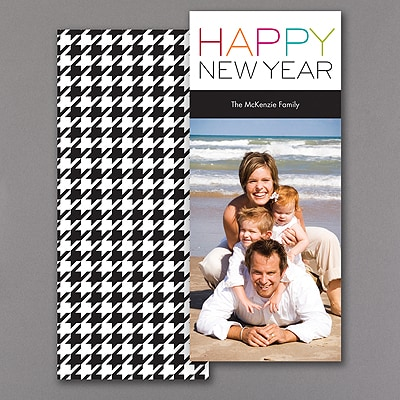 Happy Houndstooth - Photo Holiday Card - Black