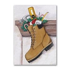 Construction Stocking - Holiday Card