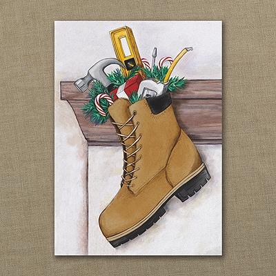 Construction Stocking - Holiday Card