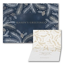 Stenciled Greenery - Holiday Card - Blue