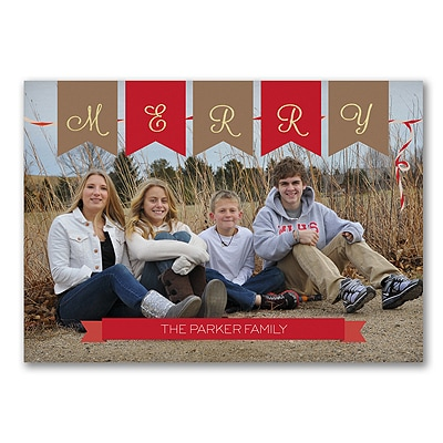 Burlap Banner - Photo Holiday Card