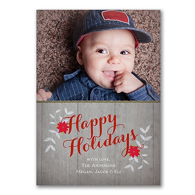 Rustic Poinsettias - Photo Holiday Card