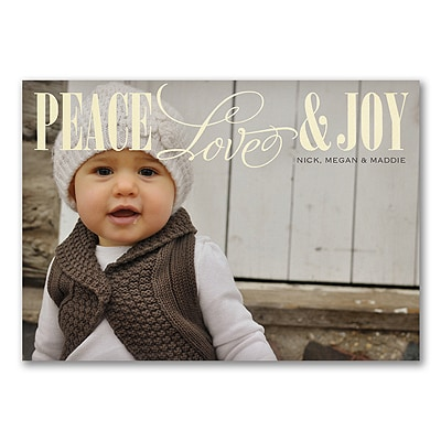 Joyful Chevron - Photo Holiday Card - Red