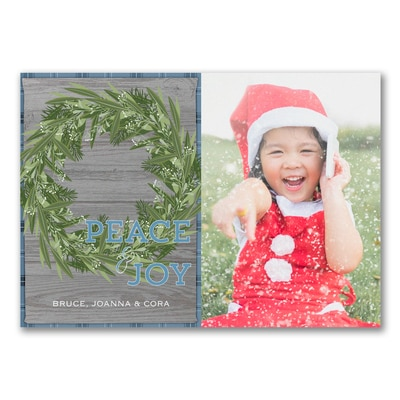 Rustic Christmas Wreath Photo Card - Blue - UNICEF