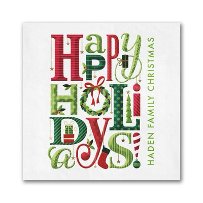 Happy Holiday Typography Napkin - Beverage