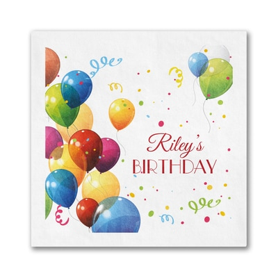 Colorful Birthday Balloons Napkin - Beverage