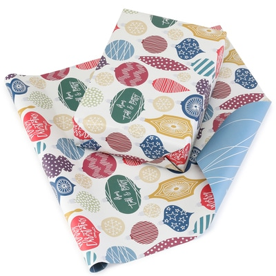 Retro Ornaments Reversible Wrapping Paper