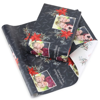 Festive Poinsettia Reversible Wrapping Paper