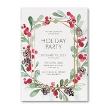 Holiday Greenery - Invitation
