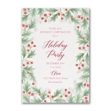 Watercolor Christmas Holly - Invitation