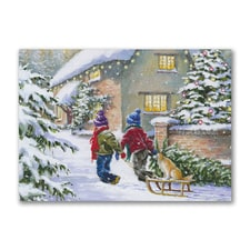 Children with Dog on Sleigh