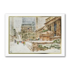 Library in Winter - American Artist - Albert John Pucci