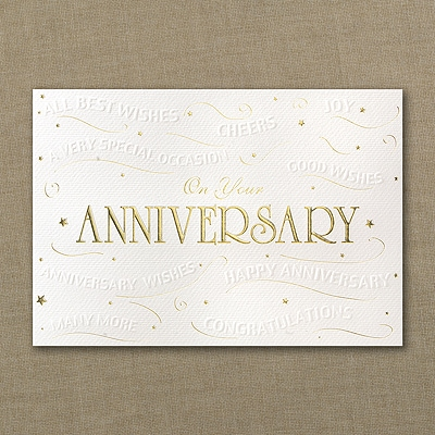 Embossed Anniversary Wishes Card