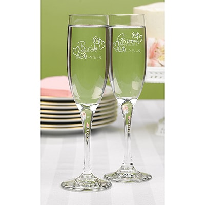 Swirl Heart Bride and Groom Flutes