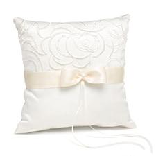 Satin and Swirls Ring Pillow - Ivory