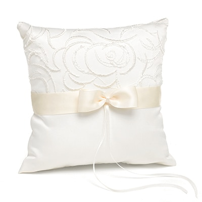 Satin and Swirls Ring Pillow - Ivory