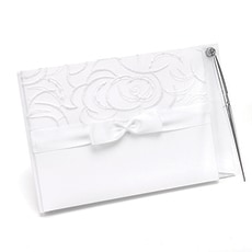 Satin and Swirls Guest Book and Pen Set -