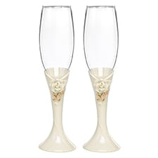 50th Pearl Rose Anniversary Flutes - Blank