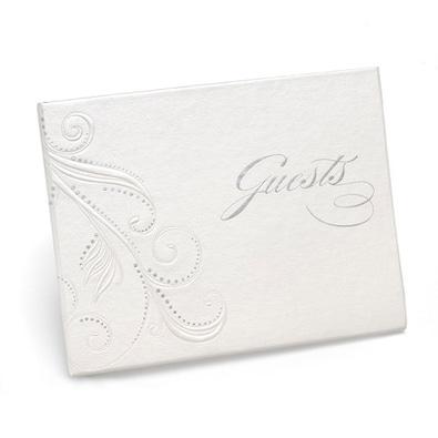 Swirl Dots Guest Book - White