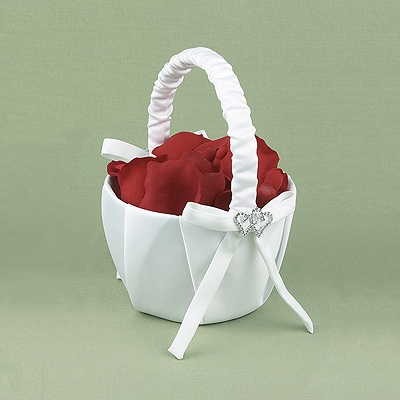 With All My Heart Flower Basket - White