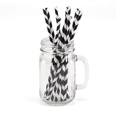 Striped Straws - Black